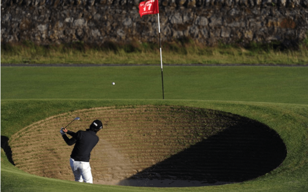 Third shot over the bunker on hole 17 at St. Andrews is one of the scariest things to happen in a golf tournament as seen in our blog on Mac Sports Travel